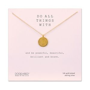 DO ALL THINGS WITH LOVE DISC NECKLACE, GOLD DIPPED